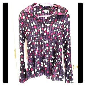 Very fun polka dotted crinkly look blouse